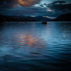 Blue sea, night fishing.
