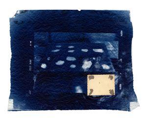 Hidden Memory 20. Cyanotype + collage. 40 x 50 cm