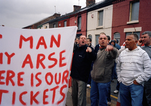 Liverpool supporters protest at cost and availability of tickets, before the match with Charlton Athletic. Anfield, Liverpool. 13 May 2007.