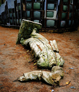 Lithuania, Vilnius. Statue of Lenin at an art park. It was destroyed by visitors.
