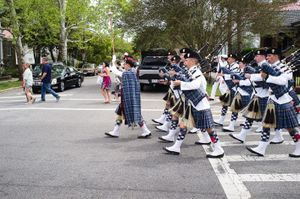 Marching bagpipers
