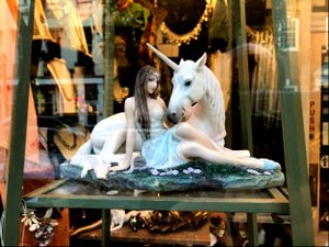 Unicorn Figurine in a Shop Window