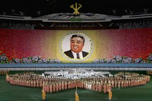 Arirang Festival to celebrate the 90th birthday of the late Kim Il Sung, 'the smiling sun of the Korean people,' May Day Stadium, Pyongyang.