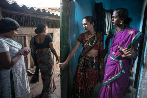 a group of hijras that live in Thane, Mumbai outside their home  © Alison McCauley