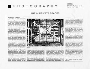 "ARTWEEK (West Coast weekly) review by Jim Jordan, of LK show at Nathan Hart Gallery, SF- ""Art in Private Spaces,"" 1985"