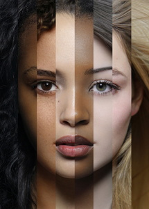 MIXED FACE of  8 different ethnic origins. Art collage №4