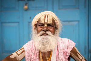 'Tilak' or Painted Shaivas Sadhu, Kumbh Mela, India,  2015.