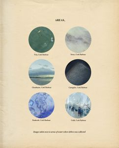 """Beyond Drifting: """"Imperfectly Known Animals"""" — book, single page. A page from the book shows colour images of the area locations where plastic debris was recovered from to create the specimens."""