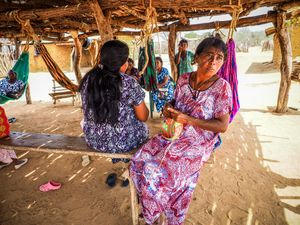 """The inhabitants of the Wayuu village Manaure make their homes in cactus-thatched huts bound together as """"rancherías"""", furnished with little more than rope hammocks called """"chinchorros"""", and a fire pit for cooking."""