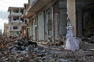 A view of the eastern part of the destroyed Syrian town of Kobane on 2 April,2015.