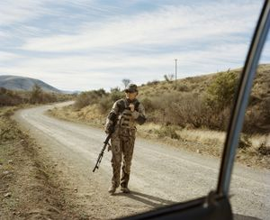 huntress, baboon hunting, cradock, eastern cape, south  africa-from the series 'hunters'-David Chancellor