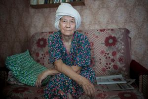 "Alevtina on Banya Day, Russia, 2011. From the series ""Alekhovshchina: Two Sisters"" © Nadia Sablin"