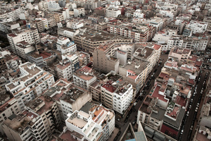 Casablanca, Morocco. Eye view of the city near the neighbour of Palmier, where the association Solidaritè Feminine is located.