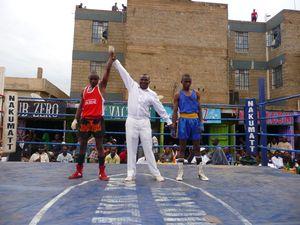 Sylvester Mulinge (Kahawa - in red) won against Denis Musasia (Kibera - blue).