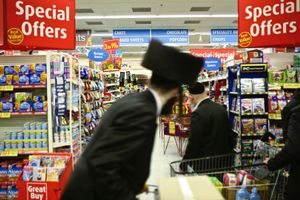Yom Tov takes place when Passover has finished, Orthodox Jews return to the local supermarkets (Morrisons) to buy leavened products e.g.: cereal, biscuits, cake, and anything that contains yeast.  Shopping hours are extended until 3 AM to allow this to happen.