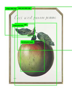"Paglen Studio Research Image. How computer vision might see René Magritte's 1964 painting ""Ceci n'est pas une pomme"" © Trevor Paglen. Courtesy of the artist."