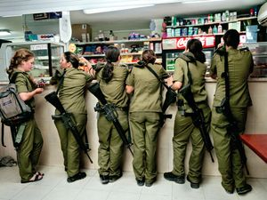 "Military kiosk counter, Shaare Avraham, Israel, 2004. From the series ""Serial No. 3817131"" © Rachel Papo"