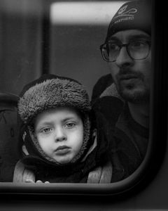 On the tram with dad