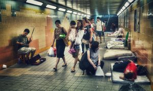 People and Lives crossing an underpass