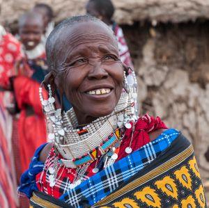 An elderly Maasai woman in Tanzania