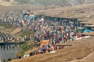 Muslim Gathered On The Bank Of Rive Turag