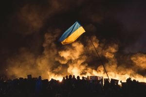 During another assault of the Maidan by police all the tents were burned. Kiev, Feb. 20, 2014