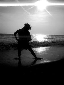 Enjoying waves at the beach