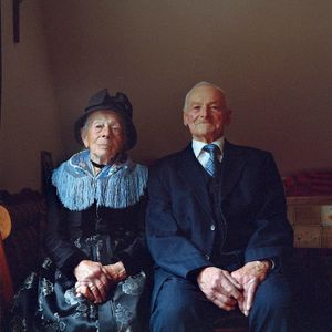 Anna Huschle and her husband, Black Forest, 2014. From the series: The last women in their traditional peasant garbs