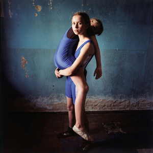 Girl lifting a girl, Ukraine 2008