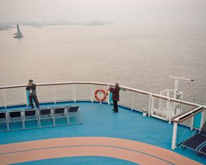 Passengers on deck prior to departure