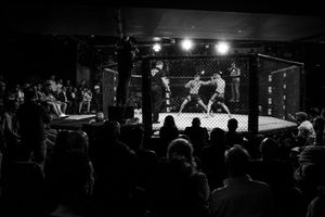 The Italian mixed martial athlete Giorgio Pietrini fights against the Spanish Eulogio Fernandez. In Italy, MMA matches last for 5 rounds and they take place in a cagedMMAring of around 50 m2. EveryMMA roundlasts maximum five minutes, followed by a one-minute rest period.