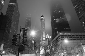 water tower in the fog