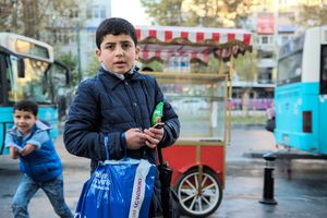 There also are many children who are begging on the street, or are selling tissues and water bottles. Many are collecting plastic. None of them are attending school. Here two brothers, 12 and 9 years old are selling tissues and candy. Their mother is sick at home and their father is still in Aleppo.