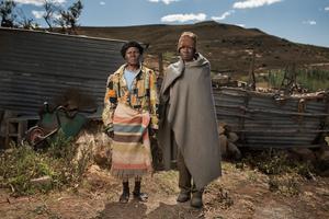Noebejara Tau with his wife - Matelile, Lesotho 2015