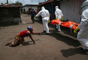 """Sister's Grief. A woman crawls towards the body of her sister as Ebola burial team members take her away. From the series """"Ebola Crisis Overwhelms Liberian Capital."""" Winner of L'Iris d'Or, 2015 Sony World Photography Awards."""