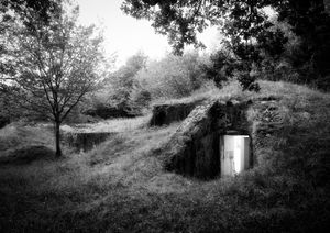 Light emerging from an old artillery shell storage bunker on the western front.