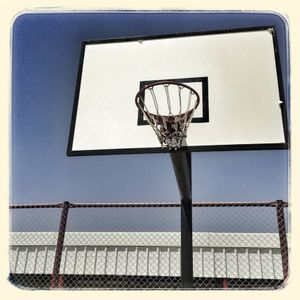 The basketball court at a Save the Children supported multi-activity centre