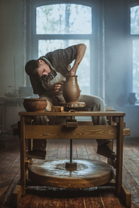 Traditional crafts. Portrait of the Potter