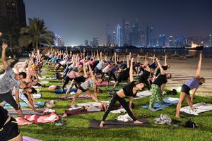 Full moon yoga session, Dubai, September 2016