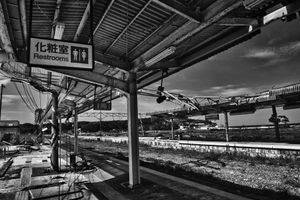 """Train station devastated by the Tsunami, from the series Fukushima """"No Go"""" Zone, © Pierpaolo Mittica."""