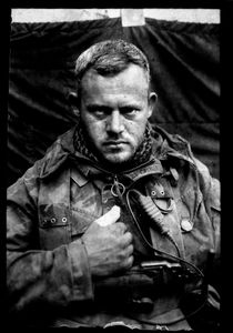 """KABUL PORTRAITS. """"Sergeant first class Johan, engineers section leader"""". Portraits of Dutch ISAF troops in Kabul, Afghanistan. The photos are taken with the antique box camera, borrowed from an Afghan street photographer in Kabul. The exposure time of each photo was 10 seconds."""