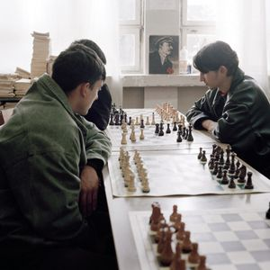 Young men playing chess at the Borovo Naselje school. © Colin Dutton