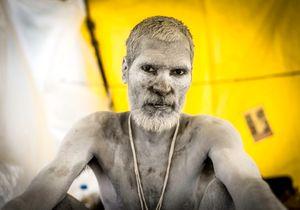 Aghoris Sahdu in his shelter, Kumbha Mela, India 2015