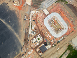Construction of the Olympic Aquatic Stadium is a temporary structure and will be dismantled following the games, Barra da Tijuca, 2015