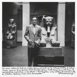We went up to look at Mayan Codices at Museum of Natural History  Metropolitan Museum of Art to view Carlo Crivellis green-hued Christ-face with crown of thorns stuck symmetric in his skull - here Egyptian wing William Burroughs with a brother Sphinx, Fall 1953 Manhattan. © Allen Ginsberg