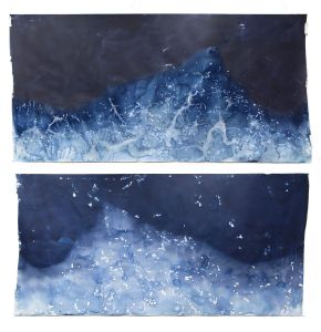 "Littoral Drift #417 (Recto/Verso, South Beach, Lake Michigan, Sheboygan, WI 01.06.16, Five Overwash Waves, Draped Over Suncups and Corn Snow)42x96"", Unique Cyanotype"