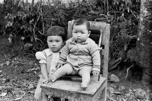 Chinese girl & her baby brother, Ruteng, 1973