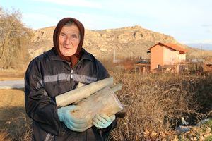Baba Durya returns home from the field. Rybnik village, Petrich, Bulgaria.