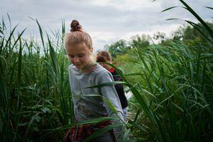 Sophia and Sasha, exploring the pond