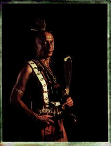 #13, Czech  powwow dancer, Portrait taken at the local powwow convention, bleach Fuji Fp100c, negative scan, Kladno, Czech Rep. 2015